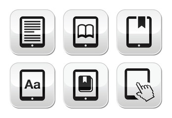 E-book reader, e-reader vector buttons set