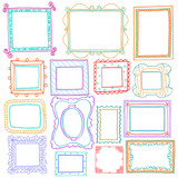Vintage photo frames set, doodle style, ornamental photo frames