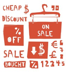 discount messages with numbers and currency symbols