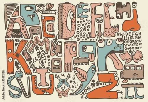 funky monsters doodle retro alphabet in english