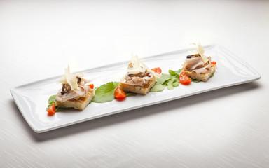 Crostini di focaccia, Italian Fine Dining Appetizer