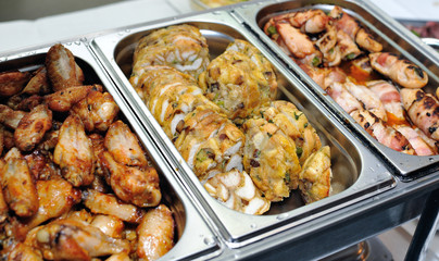 grilled chicken, stuffing of bread and meat