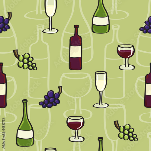 Wine Seamless background tile in Cartoon Style