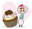 A cupcake and a sketch of a boy with a heart