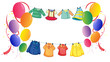 Hanging clothes with colorful balloons