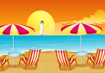 Two umbrellas and four chairs at the beach