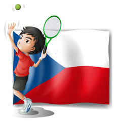 The flag of Czech Republic and the tennis player