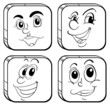 Four different kinds of square faces