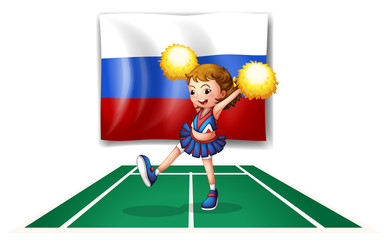 The cheerleader and the Russian flag