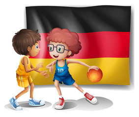 The flag of Germany with the two athletes