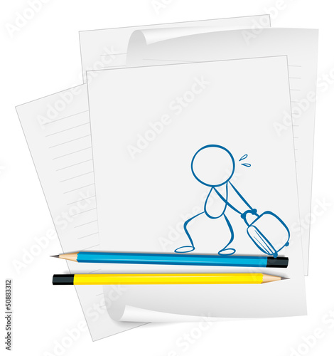 A paper with a sketch of a boy pulling a bag