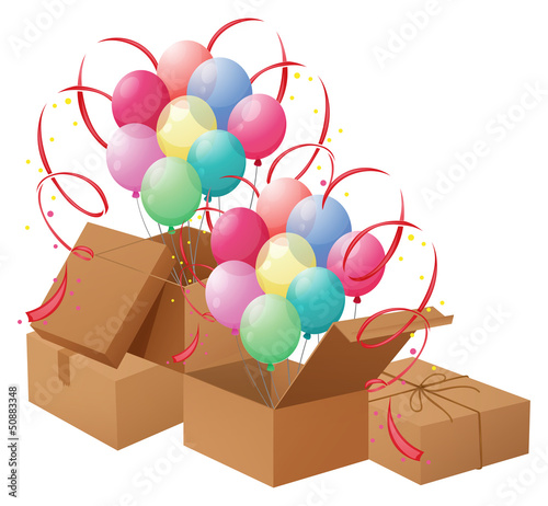 The balloons and the boxes