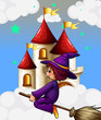A witch riding in a broom near the castle