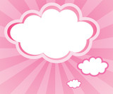 A cloud with a pink background