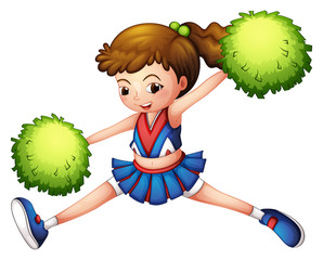 A cheerdancer with a green ponytail and green pompoms