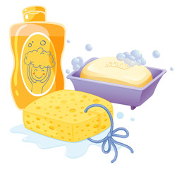 A sponge, a soap and a shampoo