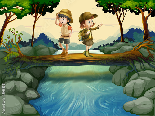 Two kids crossing the river