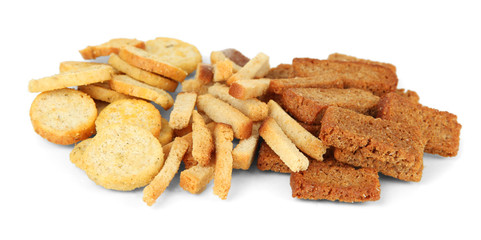 Different kinds of crackers, isolated on white