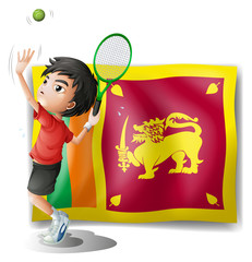 A boy playing tennis in front of the Sri Lanka Flag