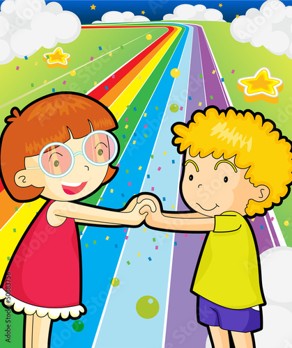 Fotobehang Regenboog A colorful road with a girl and a boy holding hands