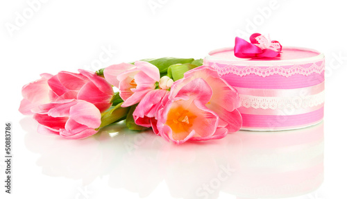 Pink tulips and gift box, isolated on white