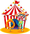 A ring of fire and a clown in front of a circus tent