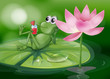 A frog above the waterlily