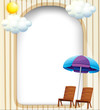 An empty entrance template with a beach umbrella and chairs