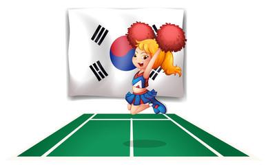 A South Korean flag and the cheerdancer