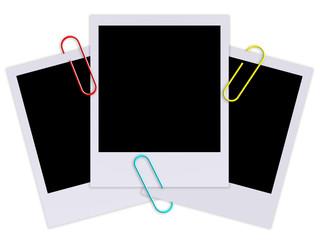 Ilustração - Fotografias instantâneas presas por clipes