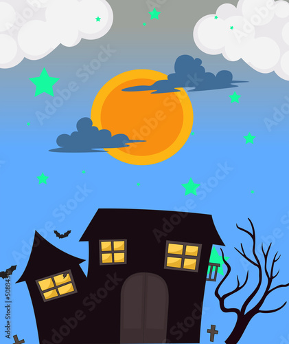 A full moon and the haunted house