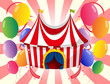 A red circus tent with colorful balloons