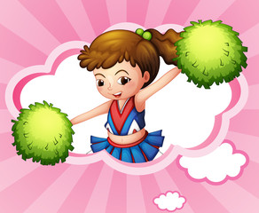 A cheerleader with green pompoms inside a cloud