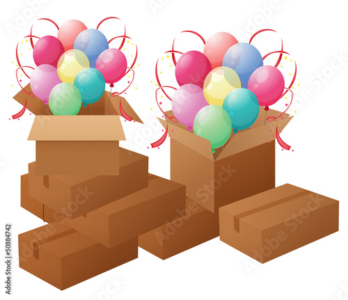 Boxes with balloons