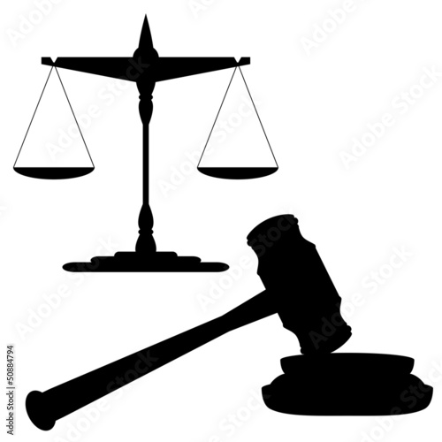 Scales of justice and gavel. vector