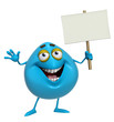 3d cartoon cute blue monster holding placard