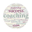 Coaching Concept Vector Word Cloud on white background