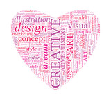 Creative Design Love Shaped Vector Typographic Word Cloud poster