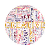 Creative Design Concept - Colorful Word Cloud in Circle