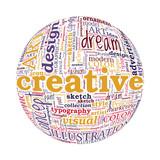 Creative Design Concept Spherized Typographic Word Cloud poster