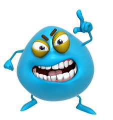 3d cartoon cute blue monster