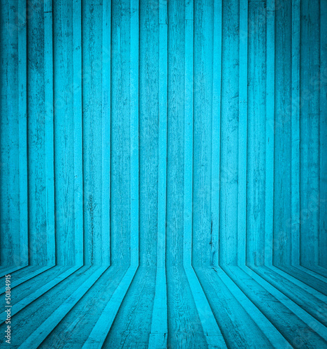 Blue wooden room interior