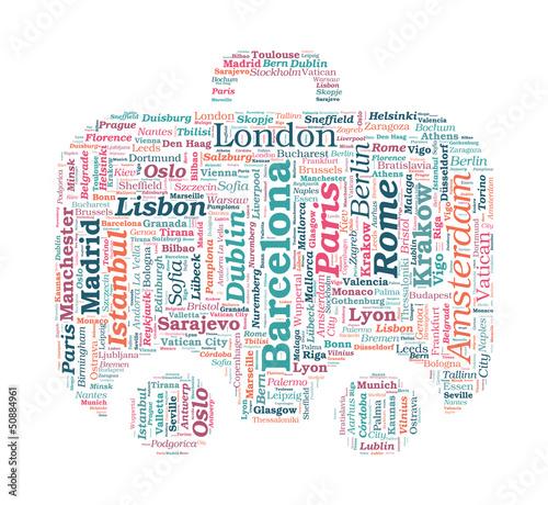 Fototapeta European Cities Bag Shaped Vector Word Cloud on white background