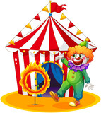 A tent at the back of the clown and the ring of fire
