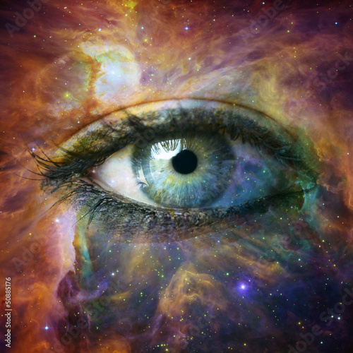 Human eye looking in Universe - Elements of this image furnished