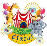 Fototapety A circus show with kids and animals