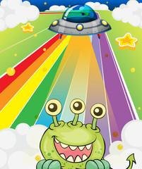 A three-eyed monster near a spaceship