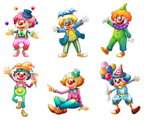 Six different clown costumes