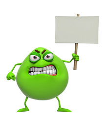 3d cartoon cute green monster holding placard