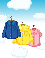 Three different kinds of clothes hanging